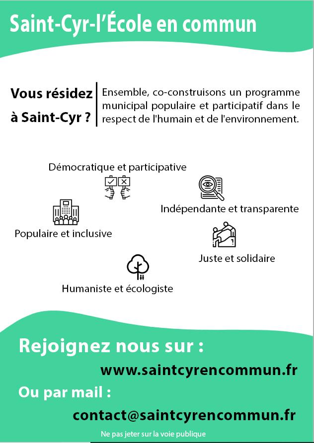 Flyer saint cyr l'école en commun liste citoyenne participative