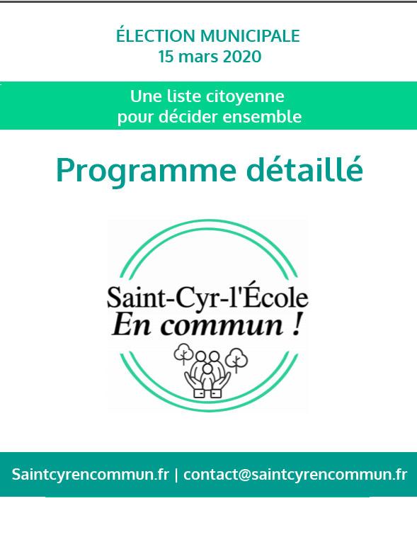 Programme detaille liste citoyenne saint cyr