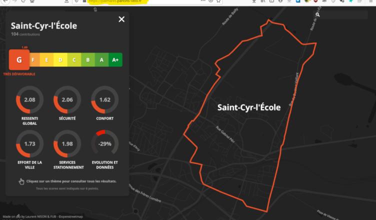 classement FuB pistes cyclables vélo saint cyr l ecole