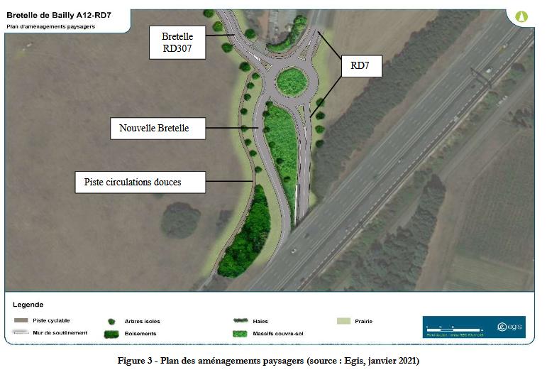 PLAN projet de création d'une bretelle d'insertion sur l'Autoroute A12 depuis la Route Départementale n°7 depuis BAILLY