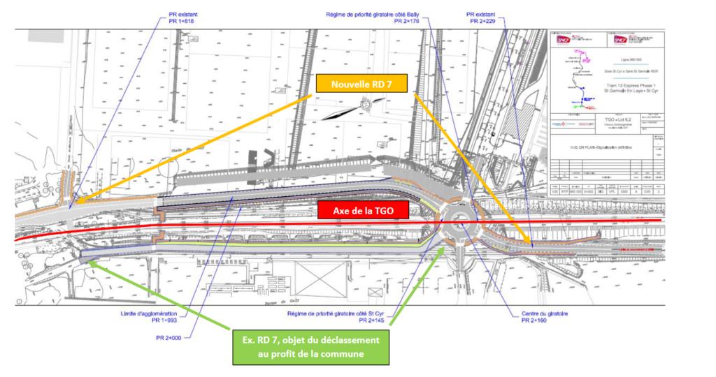 Plan RD7 à Saint-Cyr-l'Ecole – déclassement de l'ancien tracé du PR 1+818 au PR 2+145 dans la voirie communale