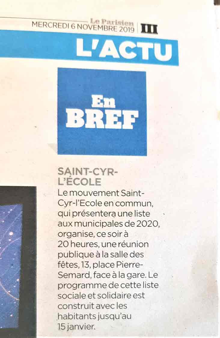 L'actu - En Bref (6 novembre 2019, Le Parisien)