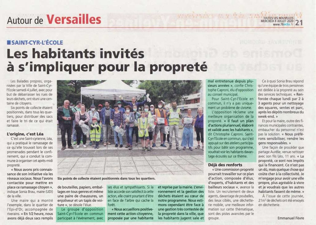 Article de Presse sur la propreté. Interview de membres de Saint-Cyr L'Ecole en Commun