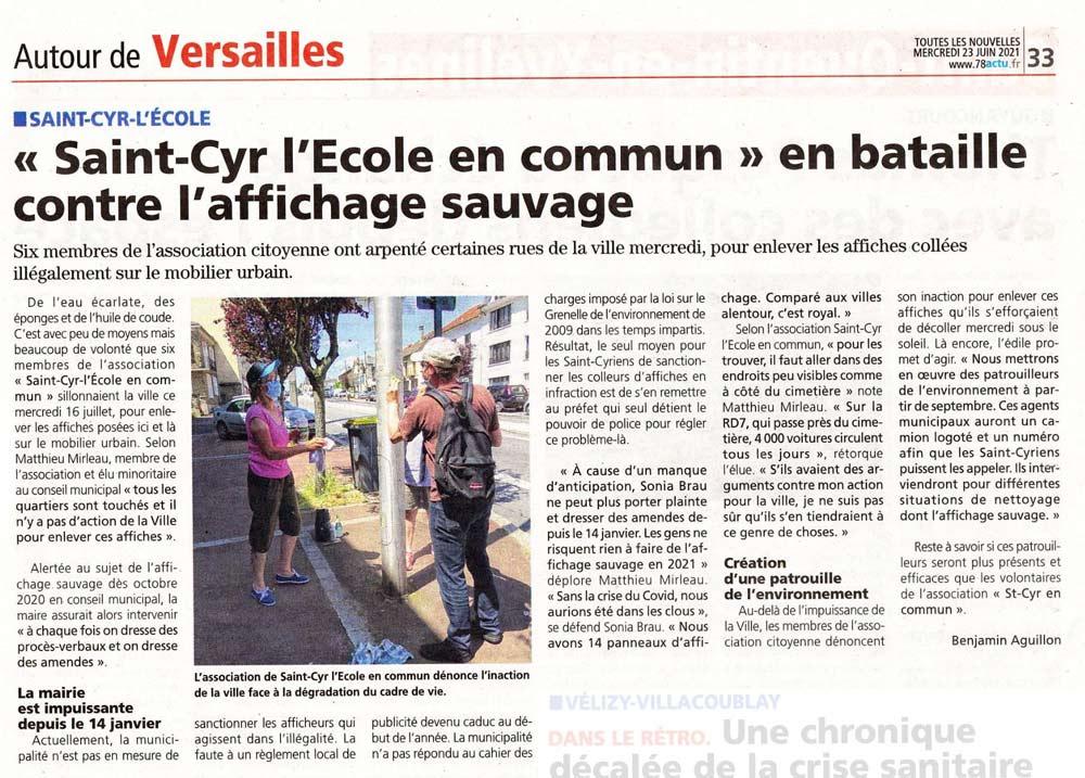 Articles Toutes les Nouvelles de Versailles sur l'affichage sauvage à Sant Cyr L'ecole